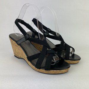 Relativity Wedge Sandals Cork Heel Strappy Black